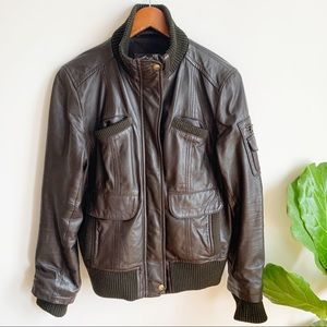 MNG Mango Leather Bomber Brown Casual Sportwear M